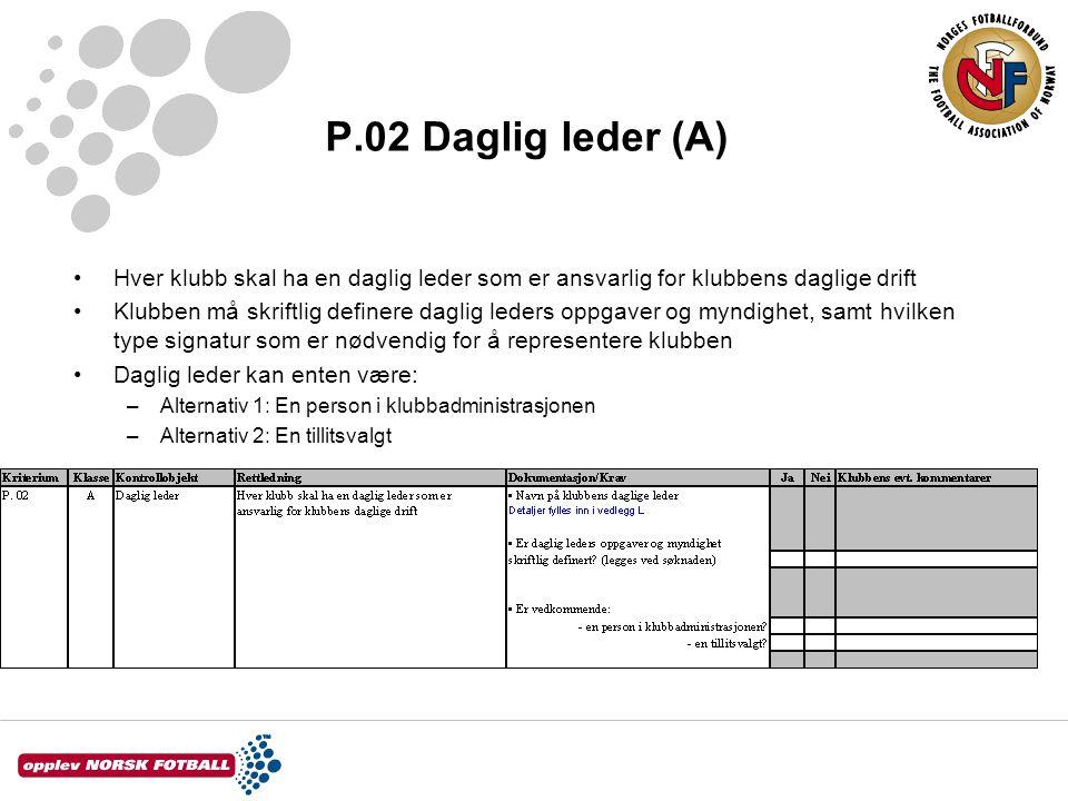 P.02 Daglig leder (A) Hver klubb skal ha en daglig leder som er ansvarlig for klubbens daglige drift.
