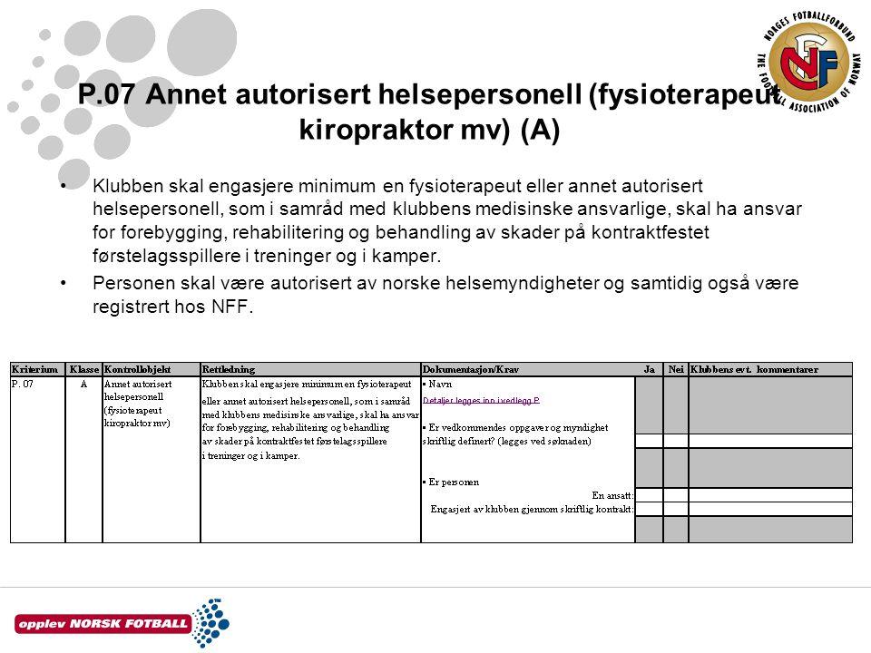 P.07 Annet autorisert helsepersonell (fysioterapeut kiropraktor mv) (A)