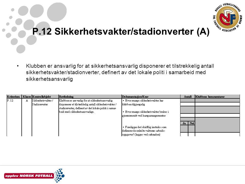 P.12 Sikkerhetsvakter/stadionverter (A)