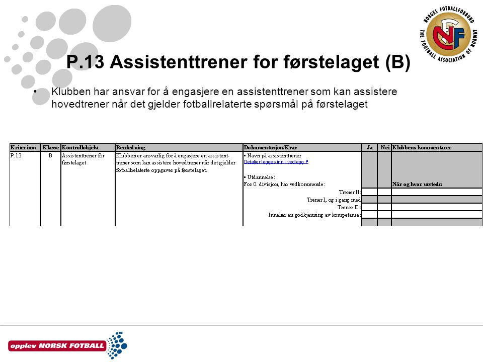 P.13 Assistenttrener for førstelaget (B)