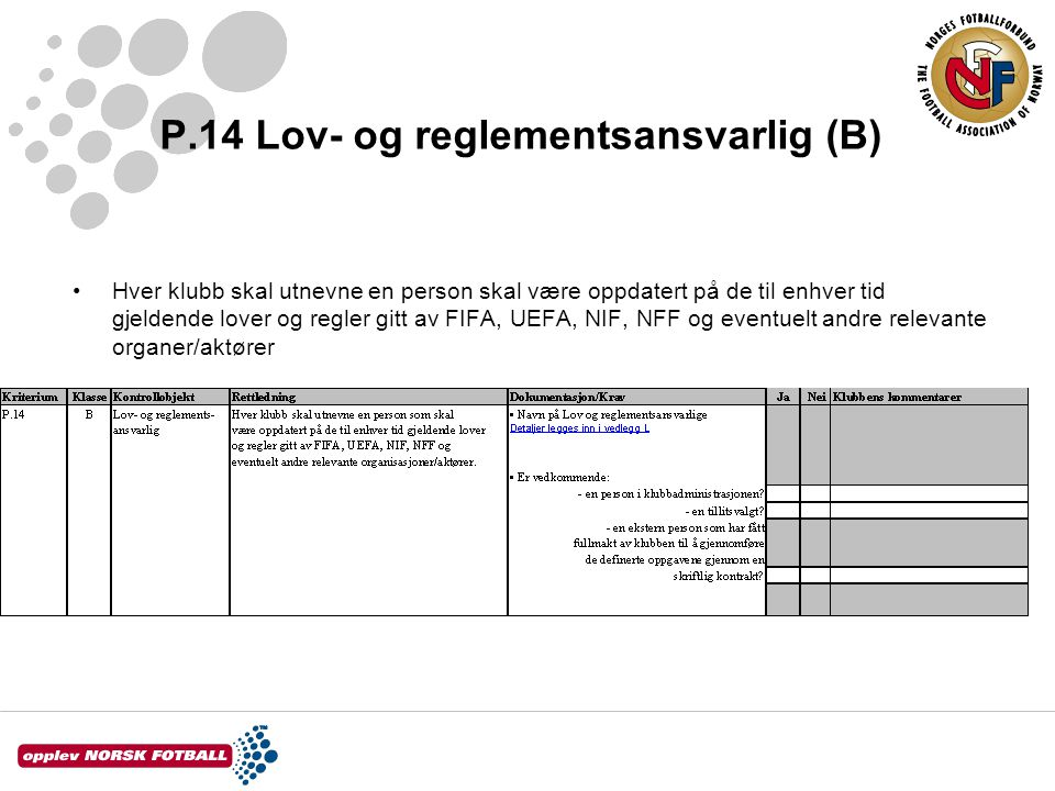 P.14 Lov- og reglementsansvarlig (B)