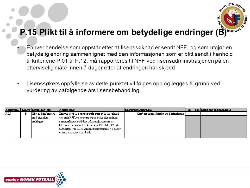 P.15 Plikt til å informere om betydelige endringer (B)