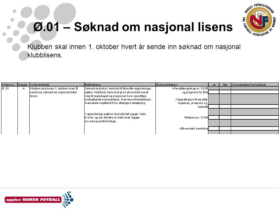 Ø.01 – Søknad om nasjonal lisens