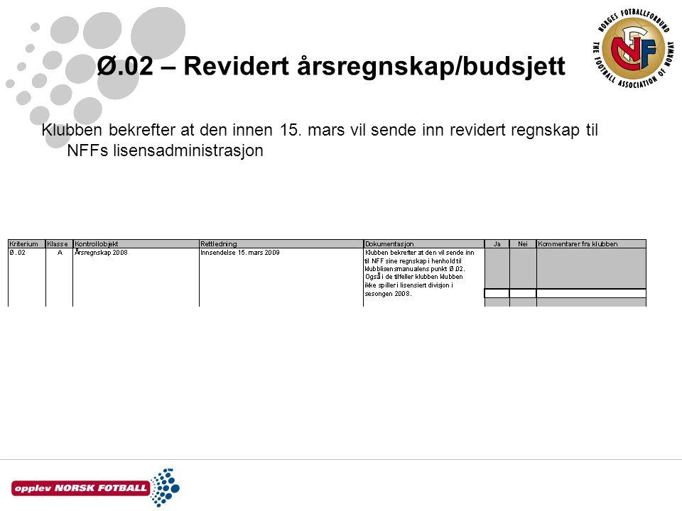 Ø.02 – Revidert årsregnskap/budsjett