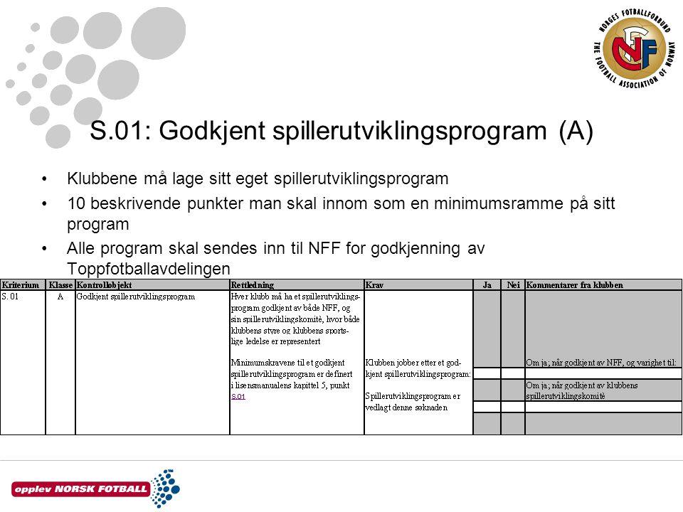 S.01: Godkjent spillerutviklingsprogram (A)