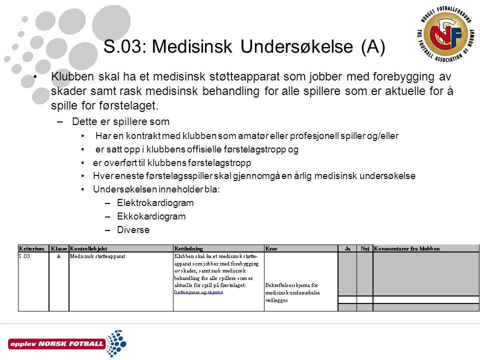 S.03: Medisinsk Undersøkelse (A)