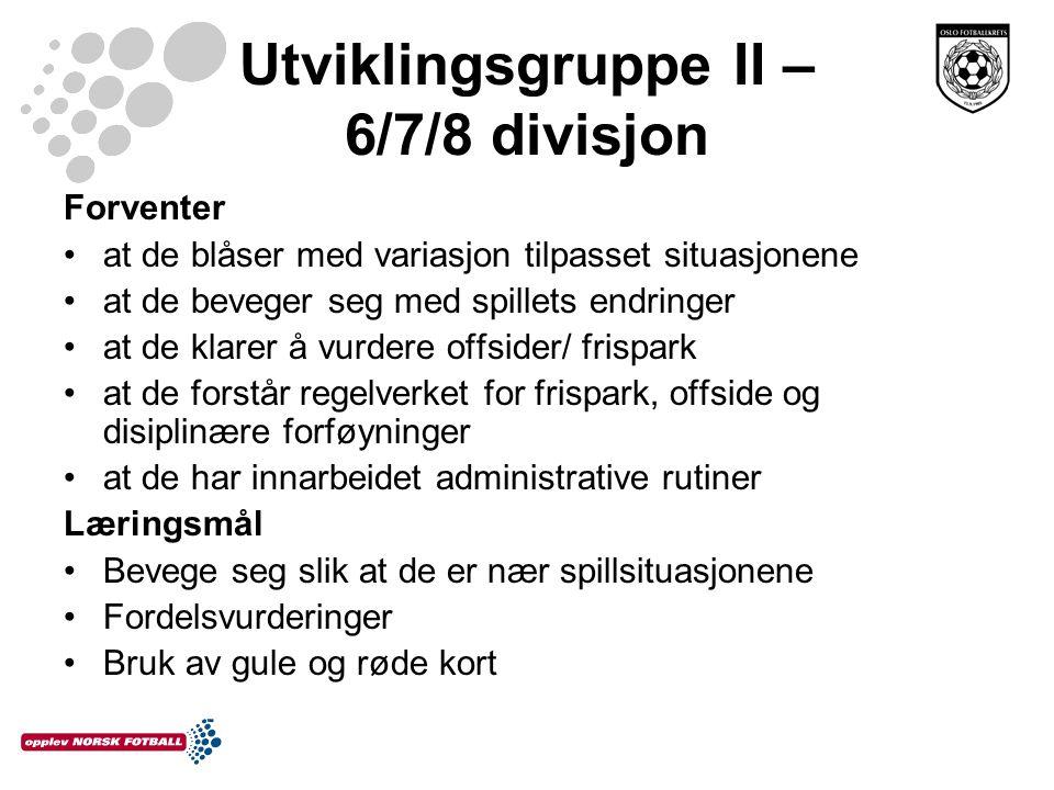 Utviklingsgruppe II – 6/7/8 divisjon