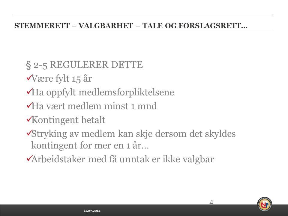 STEMMERETT – VALGBARHET – TALE OG FORSLAGSRETT…
