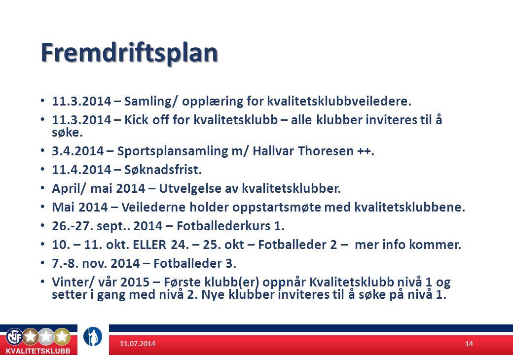 Fremdriftsplan 11.3.2014 – Samling/ opplæring for kvalitetsklubbveiledere.