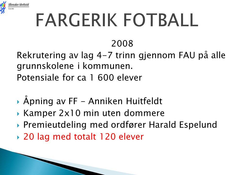 FARGERIK FOTBALL 2008. Rekrutering av lag 4-7 trinn gjennom FAU på alle grunnskolene i kommunen. Potensiale for ca 1 600 elever.