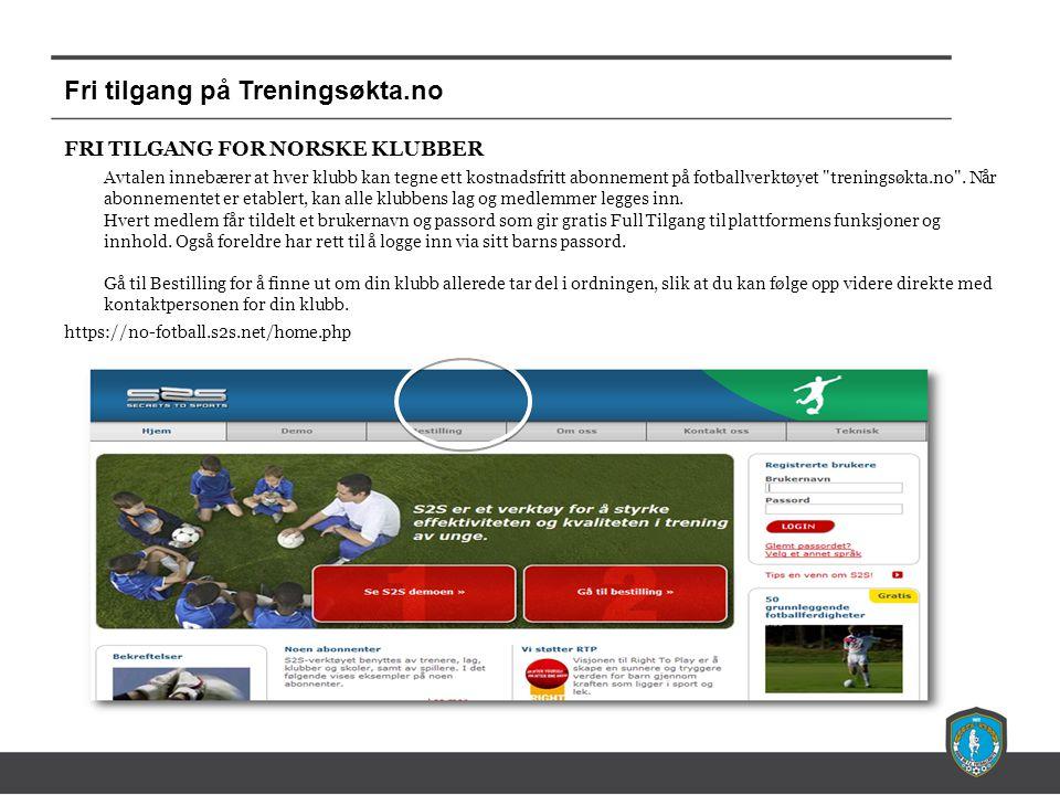 Fri tilgang på Treningsøkta.no