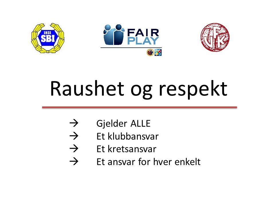 Raushet og respekt  Gjelder ALLE  Et klubbansvar  Et kretsansvar