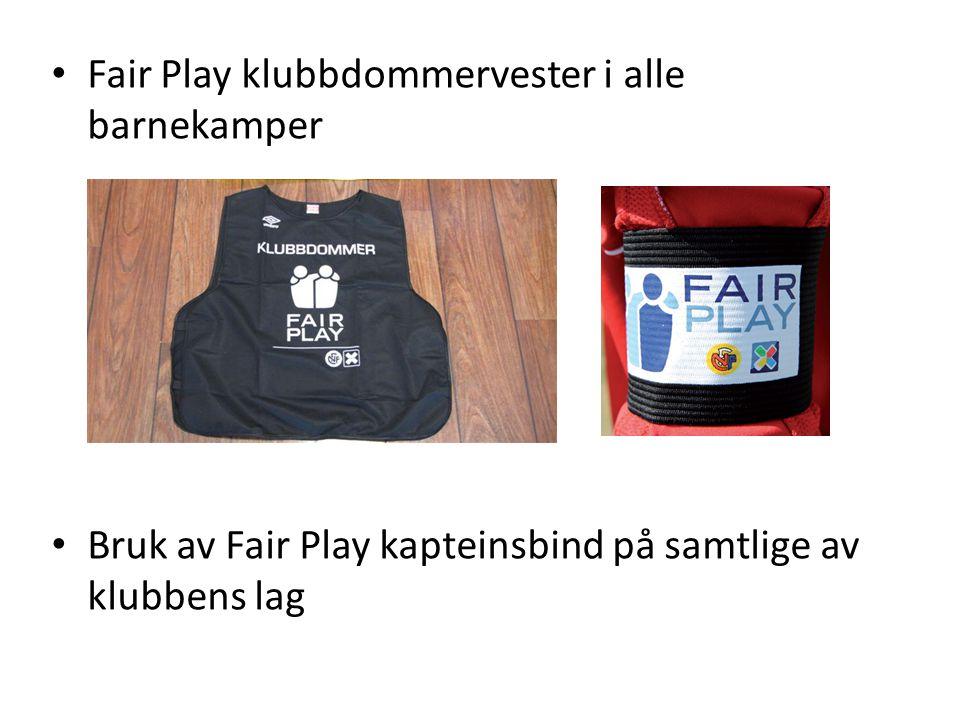 Fair Play klubbdommervester i alle barnekamper