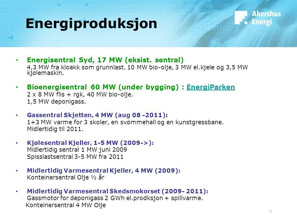 Energiproduksjon Energisentral Syd, 17 MW (eksist. sentral)
