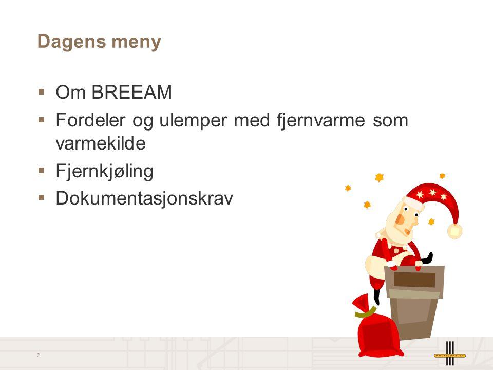 Dagens meny Om BREEAM. Fordeler og ulemper med fjernvarme som varmekilde.