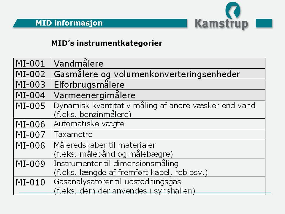 MID informasjon MID's instrumentkategorier