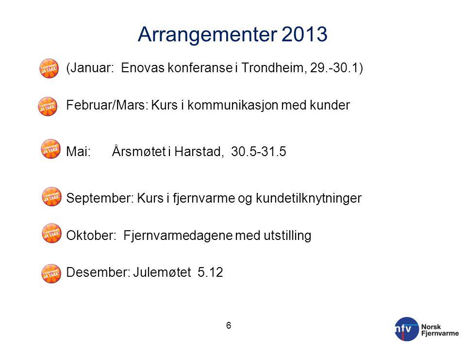 Arrangementer 2013 (Januar: Enovas konferanse i Trondheim, 29.-30.1)