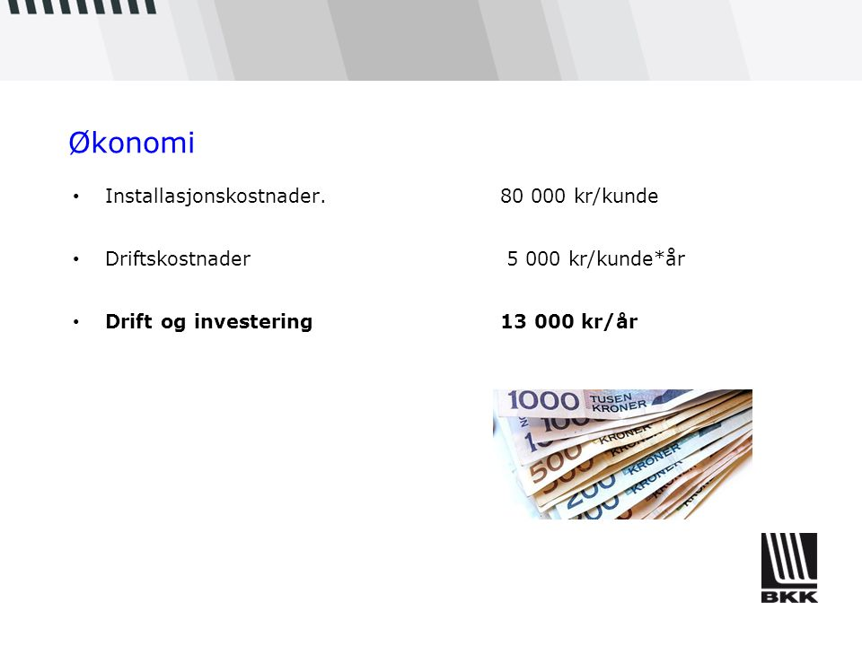 Økonomi Installasjonskostnader. 80 000 kr/kunde