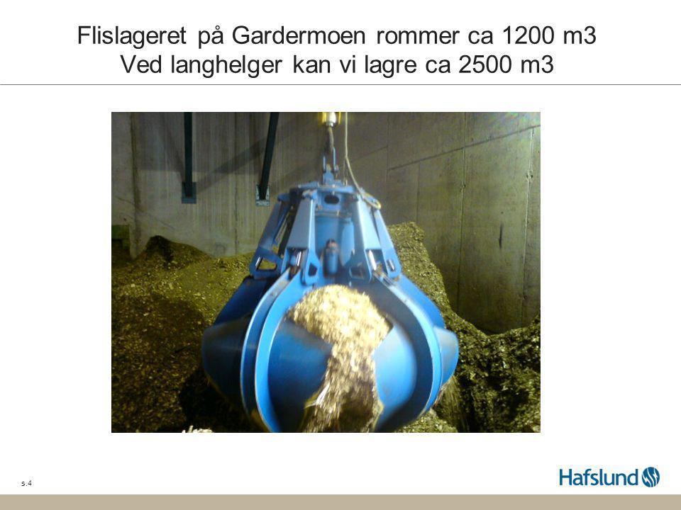 Flislageret på Gardermoen rommer ca 1200 m3 Ved langhelger kan vi lagre ca 2500 m3