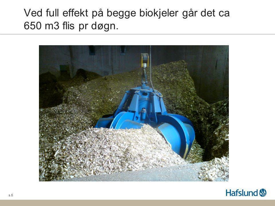 Ved full effekt på begge biokjeler går det ca 650 m3 flis pr døgn.