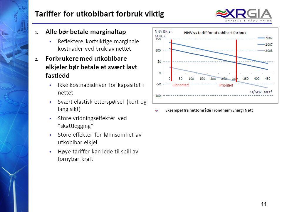 Tariffer for utkoblbart forbruk viktig