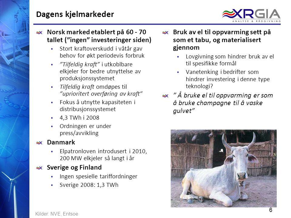 Dagens kjelmarkeder Norsk marked etablert på 60 - 70 tallet ( ingen investeringer siden)