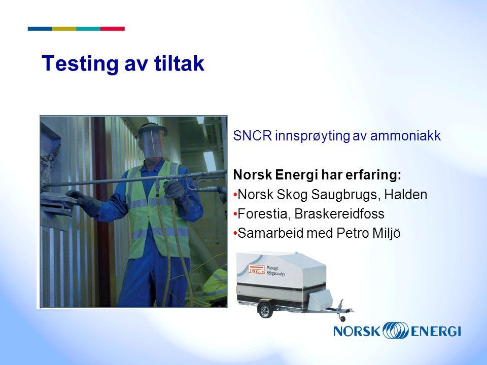Testing av tiltak SNCR innsprøyting av ammoniakk