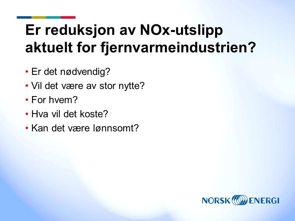 Er reduksjon av NOx-utslipp aktuelt for fjernvarmeindustrien