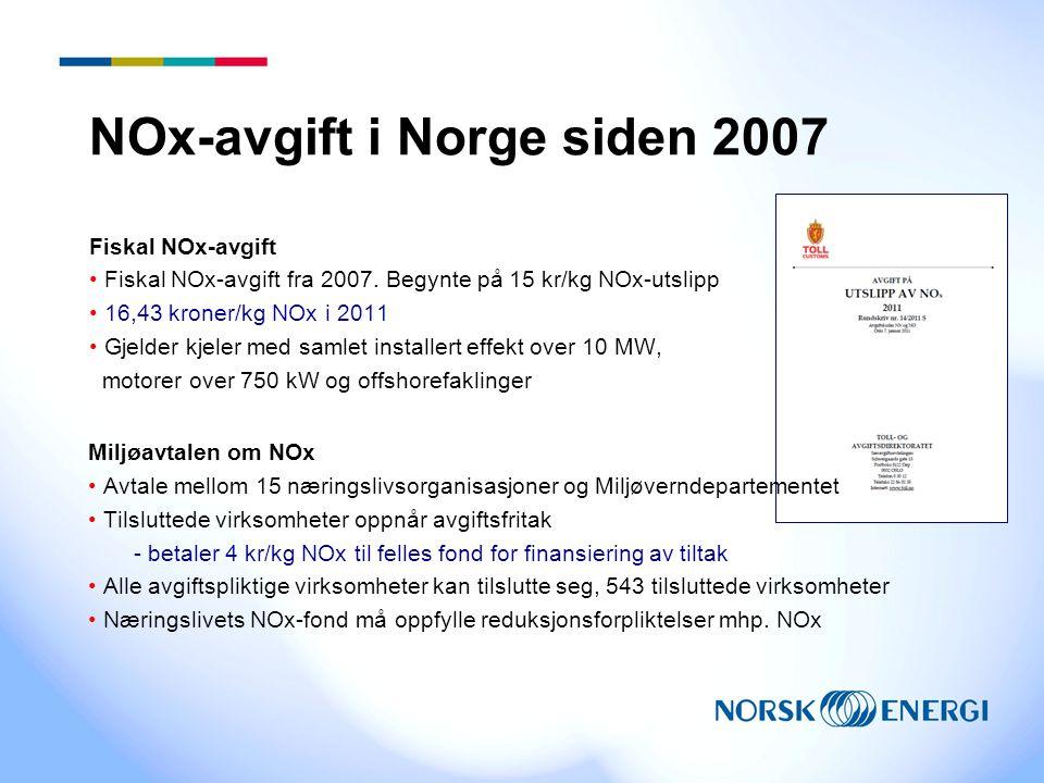 NOx-avgift i Norge siden 2007