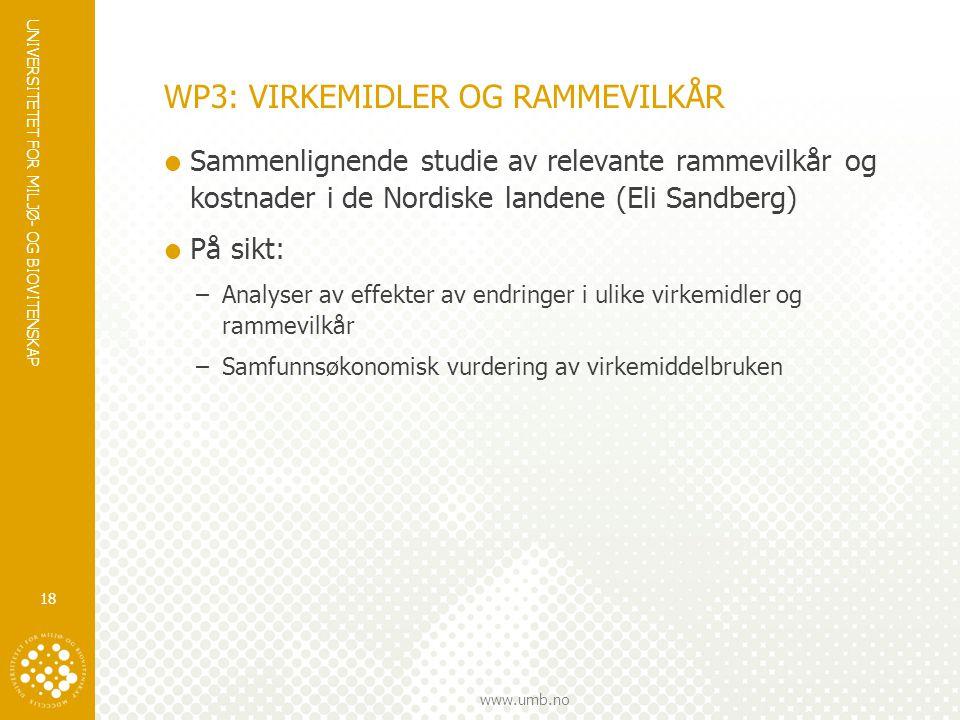 WP3: VIRKEMIDLER OG RAMMEVILKÅR