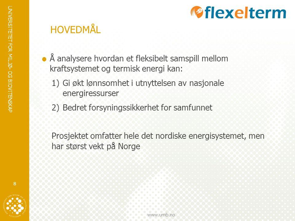 HOVEDMÅL Å analysere hvordan et fleksibelt samspill mellom kraftsystemet og termisk energi kan: