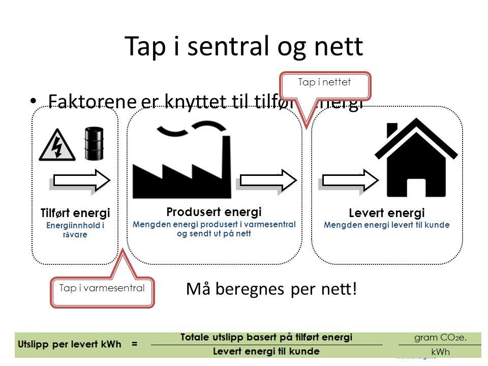 Tap i sentral og nett Faktorene er knyttet til tilført energi
