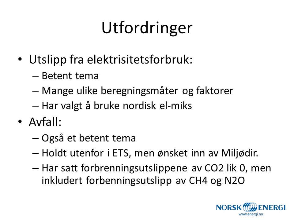 Utfordringer Utslipp fra elektrisitetsforbruk: Avfall: Betent tema