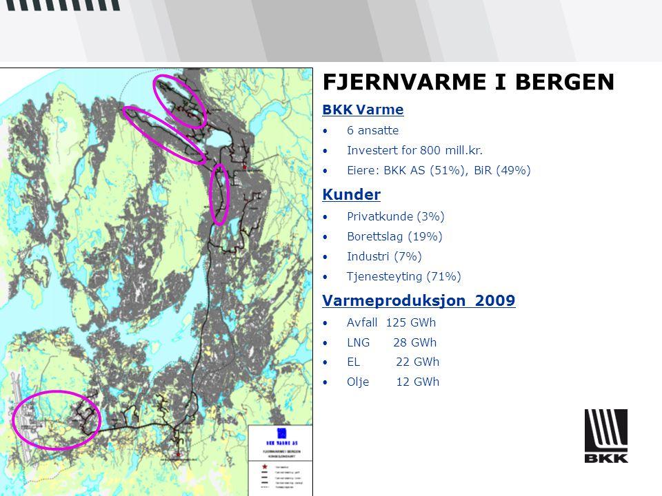 FJERNVARME I BERGEN Kunder Varmeproduksjon 2009 BKK Varme 6 ansatte