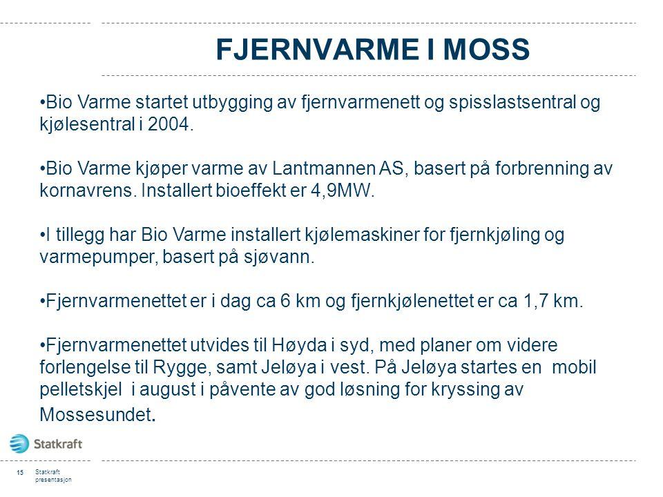 Fjernvarme i Moss Bio Varme startet utbygging av fjernvarmenett og spisslastsentral og kjølesentral i 2004.