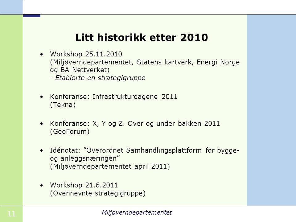 Litt historikk etter 2010 Workshop 25.11.2010 (Miljøverndepartementet, Statens kartverk, Energi Norge og BA-Nettverket) - Etablerte en strategigruppe.