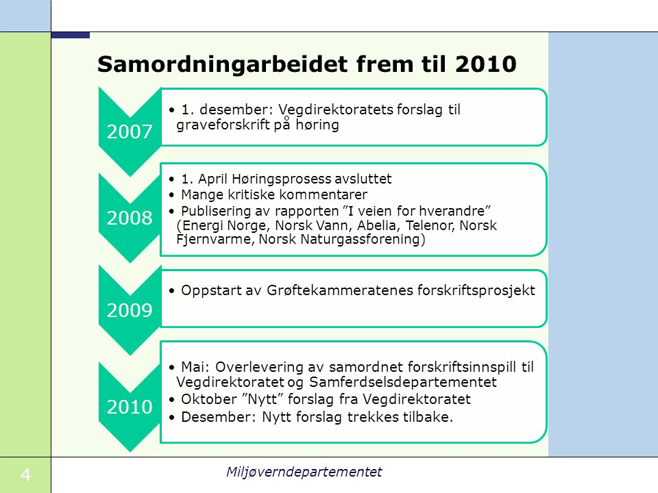 Samordningarbeidet frem til 2010