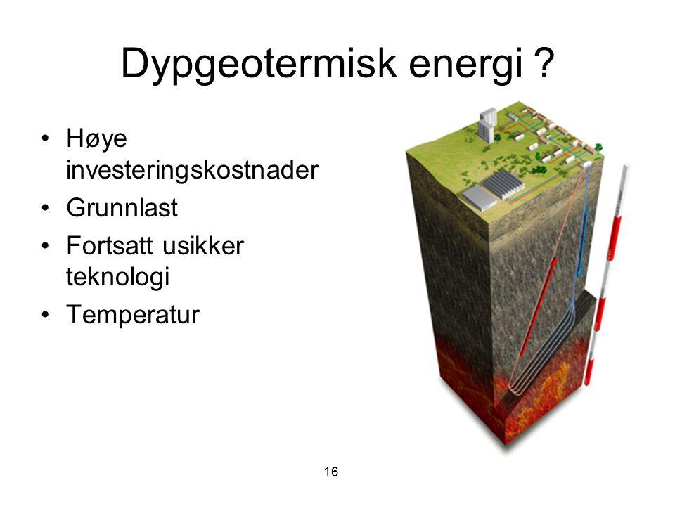 Dypgeotermisk energi Høye investeringskostnader Grunnlast