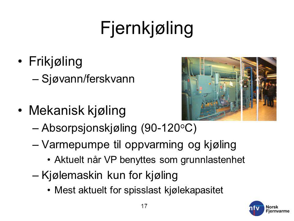 Fjernkjøling Frikjøling Mekanisk kjøling Sjøvann/ferskvann