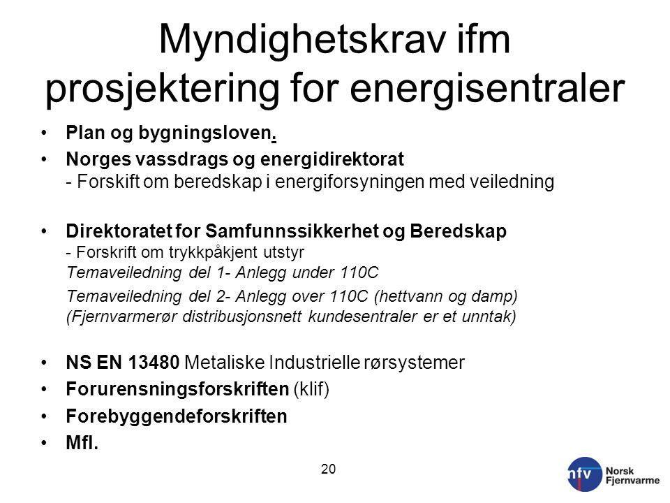 Myndighetskrav ifm prosjektering for energisentraler