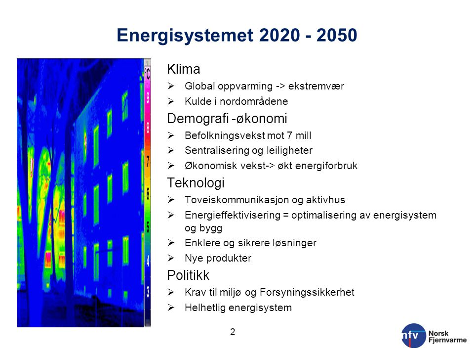 Energisystemet 2020 - 2050 Klima Demografi -økonomi Teknologi Politikk