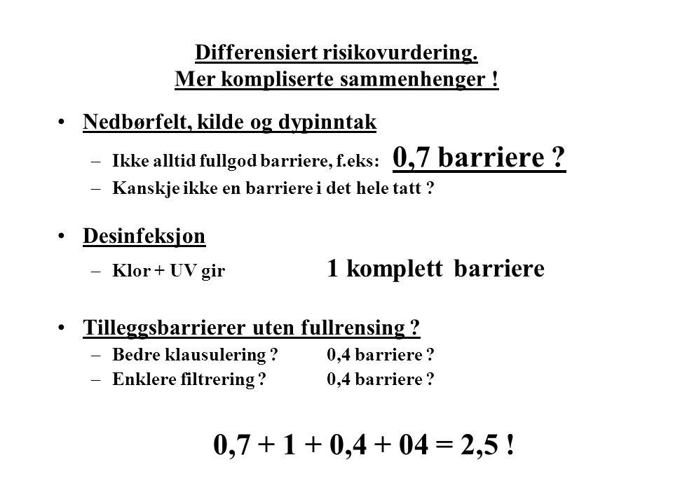 Differensiert risikovurdering. Mer kompliserte sammenhenger !