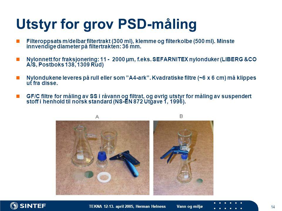 Utstyr for grov PSD-måling