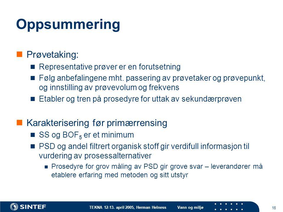 Oppsummering Prøvetaking: Karakterisering før primærrensing