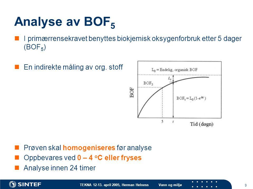 Analyse av BOF5 I primærrensekravet benyttes biokjemisk oksygenforbruk etter 5 dager (BOF5) En indirekte måling av org. stoff.