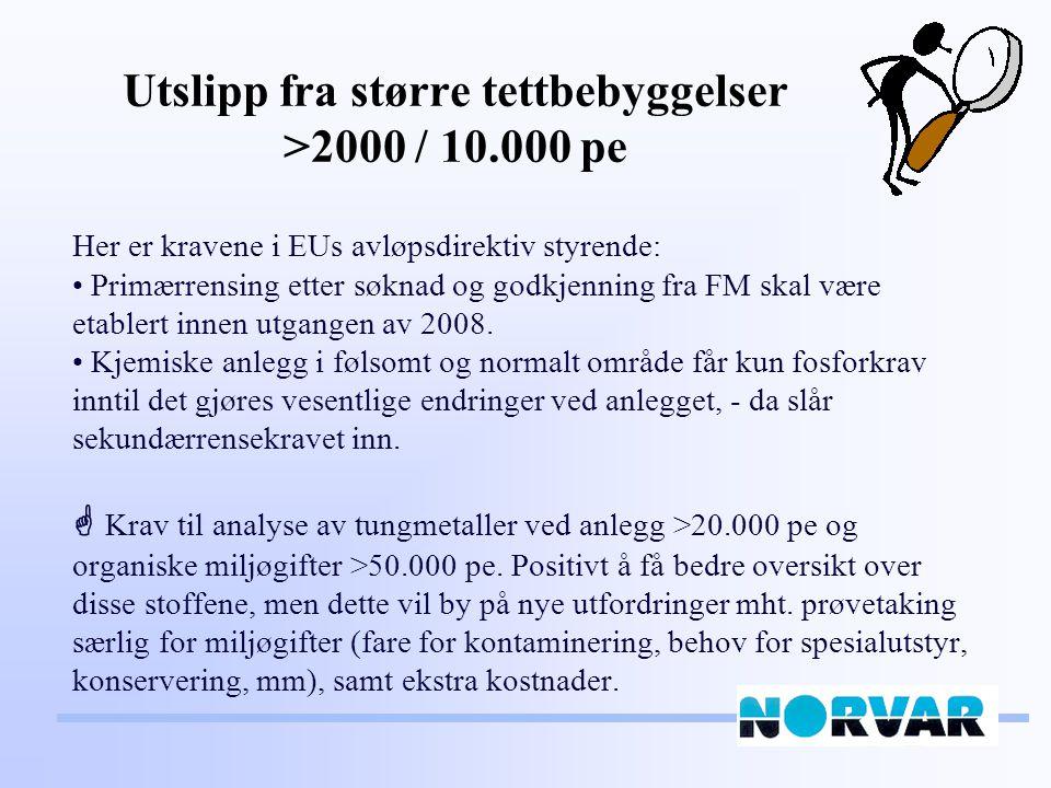 Utslipp fra større tettbebyggelser >2000 / 10.000 pe