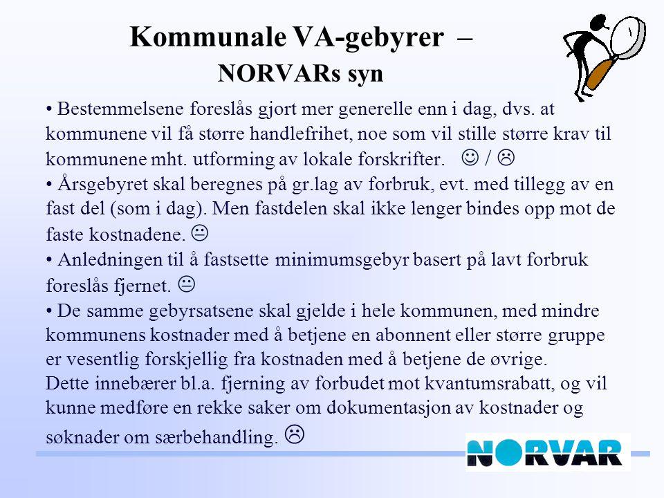 Kommunale VA-gebyrer – NORVARs syn