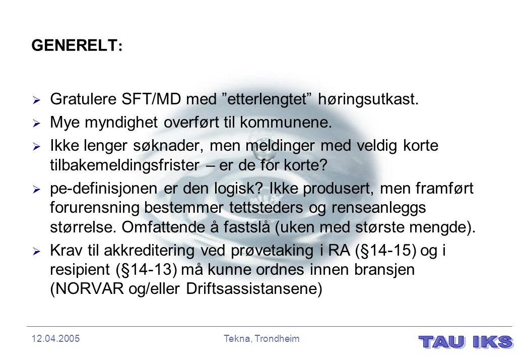 Gratulere SFT/MD med etterlengtet høringsutkast.