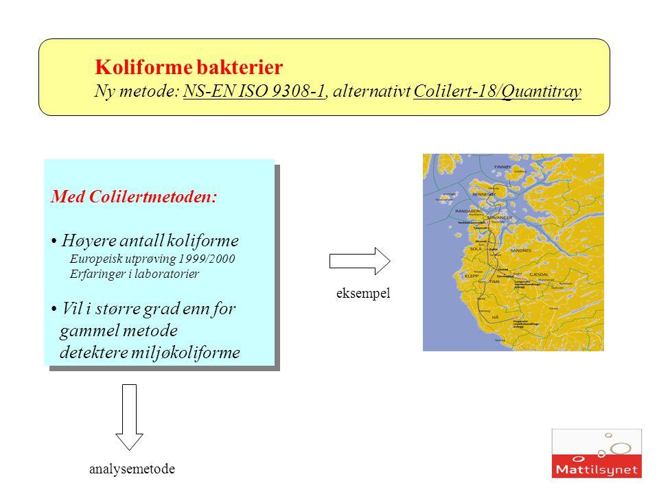 Koliforme bakterier Ny metode: NS-EN ISO 9308-1, alternativt Colilert-18/Quantitray. Med Colilertmetoden: