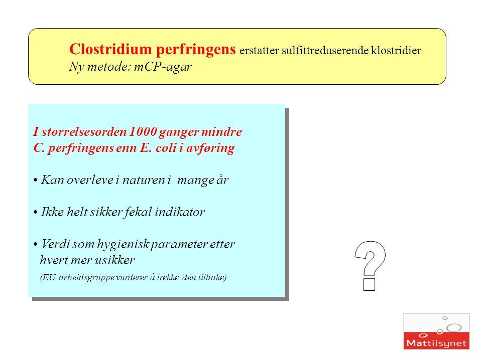 Clostridium perfringens erstatter sulfittreduserende klostridier